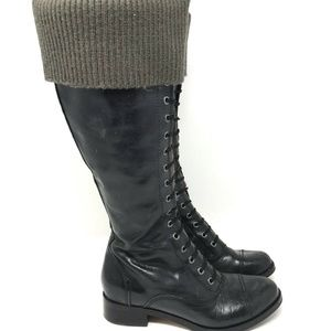Cole Haan Air Whitley Knit Black Leather Boots 6.5